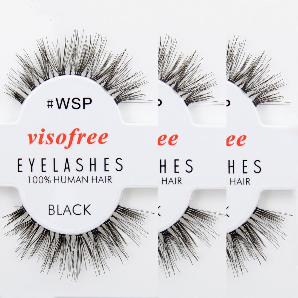 12 Pairs Eyelashes WSP Lashes 100% Human Hair Handmade False Eyelashes Messy Nature Eye Lashes Maquiagem Cilios By Visofree