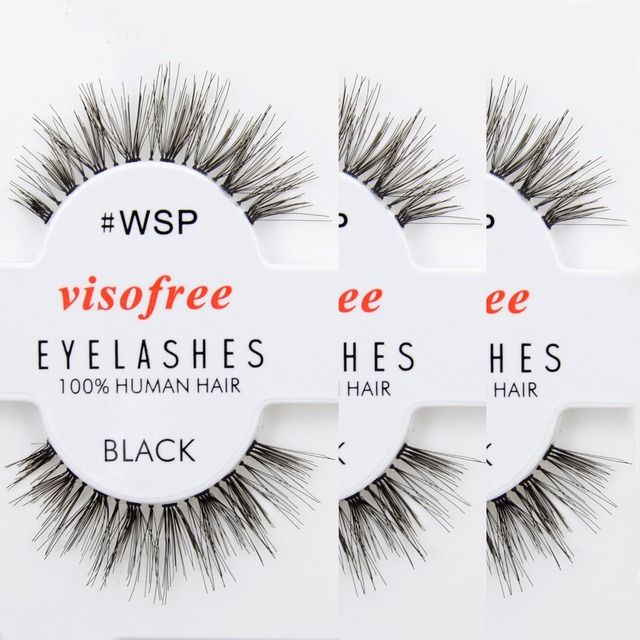 12 pairs Eyelashes WSP Lashes 100% Human Hair Handmade False Eyelashes Messy Nature Eye Lashes maquiagem cilios by Visofree