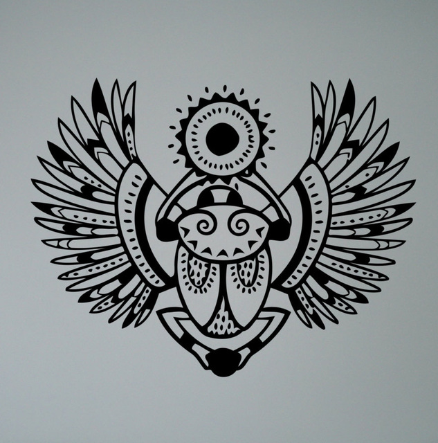 Egyptian Symbol Khepri Wall Decal Scarab Beetle Vinyl Sticker Sacred