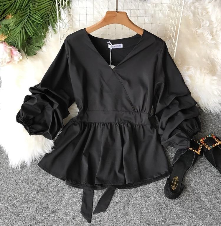 2109 Spring Women V-neck Puff Sleeves Blouse Slim Tunic Tops Retro Vintage Pullovers Busos Para Mujer Kimonos 88