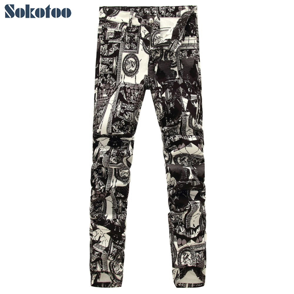 Sokotoo Men s fashion photo frame print jeans Male European and American painted denim pants Trousers