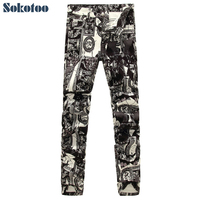 Men S Fashion Photo Frame Print Jeans Male European And American Painted Denim Pants Trousers Free