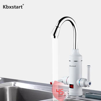 Kbxstart Instant Hot Water Tap Tankless Electric Faucet Kitchen Led Digital Control Calentador De Agua Electrico With Two Handle
