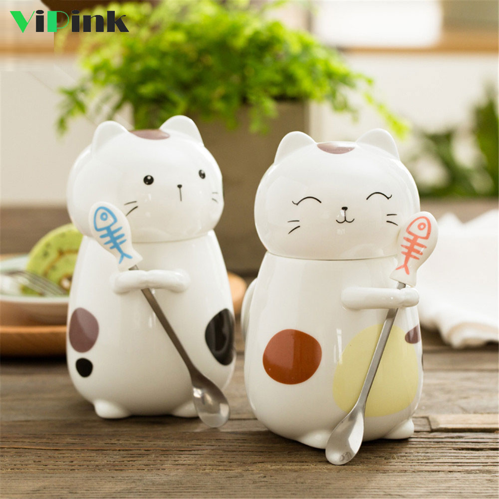 Cute Cat Coffee Cup Porcelain Mugs Porcelain 3D Anime Mug With Lid And Spoon 400ML Ceramic Cups And Mugs Breakfast Milk Cup Gift
