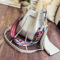 Colorful Strap Bucket Bag Fashion Women High Quality Pu Leather Shoulder Bag Brand Desinger Ladies Crossbody