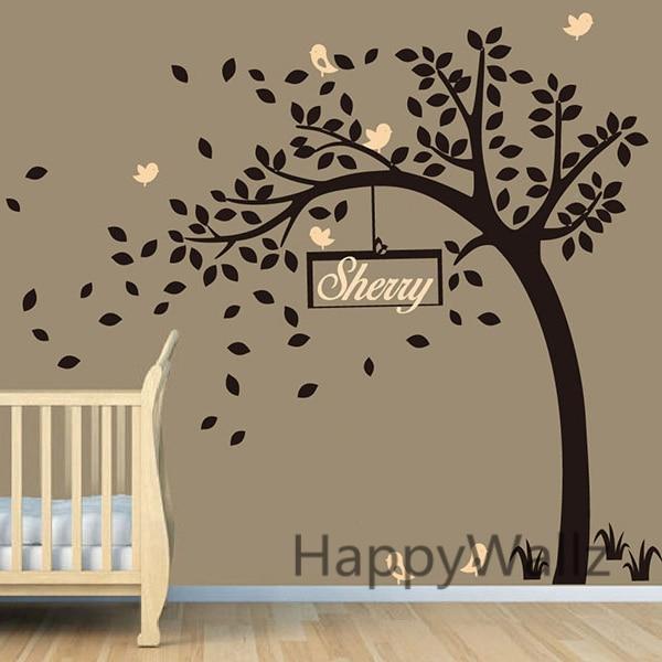 Baby Nursery Tree Wall Sticker DIY Custom Name Tree Wall Decal - Baby name wall decals
