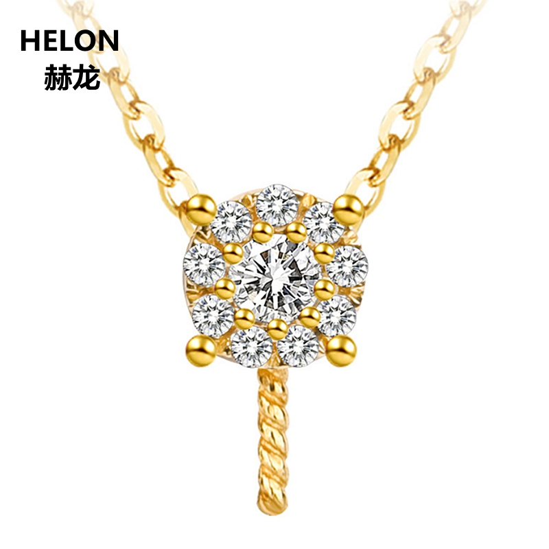 Solid 14k Yellow Gold 0.08ct Natural Diamonds Women Pendant 8-15mm Pearl Semi Mount Pendant Setting No NecklaceSolid 14k Yellow Gold 0.08ct Natural Diamonds Women Pendant 8-15mm Pearl Semi Mount Pendant Setting No Necklace