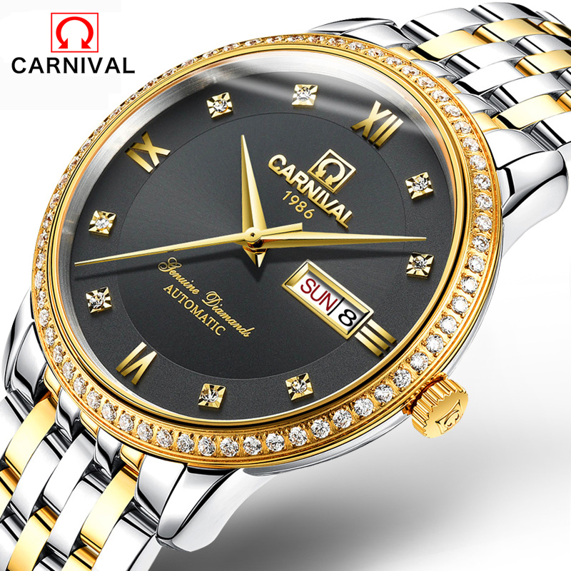 2016Carnival automatic mechanical watch relogio diamond full steel sapphire waterproof luminous male luxury famous brand watches