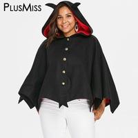 PlusMiss Plus Size 5XL Halloween Party Batwing Hooded Coat Women Jackets Black Loose Festival Bat Hoodie Coat Big Size Outwear