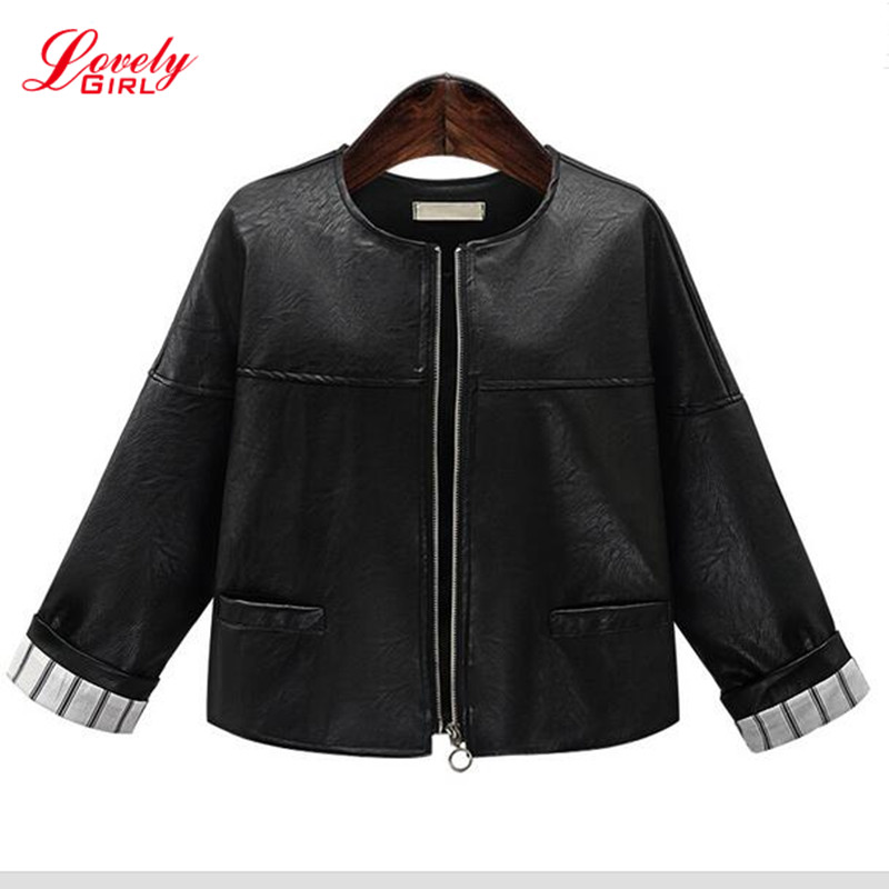 e2c45e0e84e4 Plus Size Women Clothing 5XL 2017 Winter Black Leather Bomber Jacket For Woman  Long Sleeve Euro Style Short Jackets And Coats-in Basic Jackets from Women's  ...