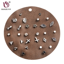 DANZE 12 Pairs/lot Unique Design Vintage Small Stud Earrings Set For Women Punk Elephant Cross Geometric Animal Ear Studs Aros(China)