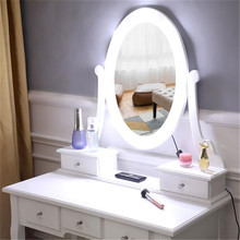Stool Dressers Drawer White Makeup Desk Single-Mirror-5 with Light-Bulb FCH FCH