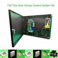Diyの完全な2ドアアクセス制御システム125 Khz rfidキーパッドアクセスコントローラダブル木製金属ドアアクセスコントロールキッ