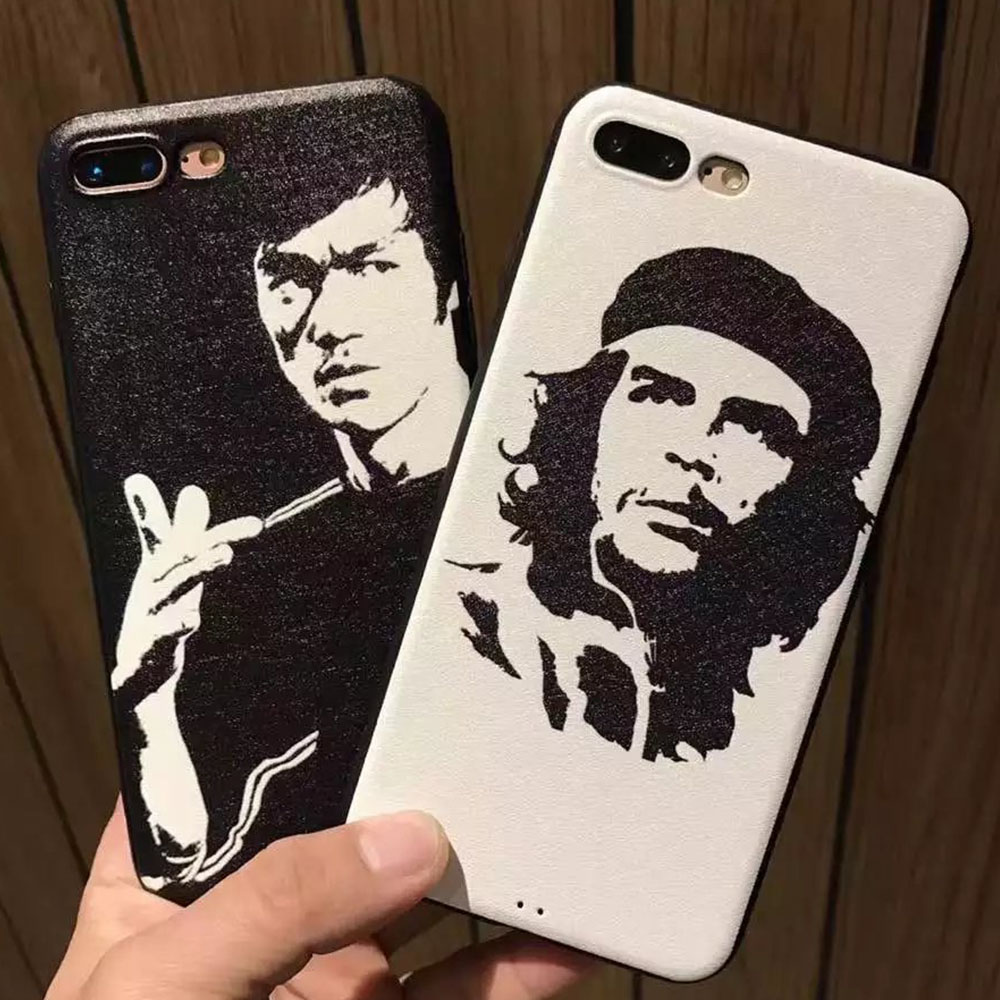 Black Silk Grain Pattern Soft Kung Fu Superstar Bruce Lee Guevara Painting Back Case Cover for iPhone 6 6S Plus 7 7Plus Cover