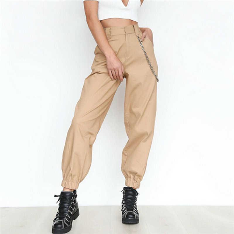 Damskie spodnie dorywczo wysokiej talii Cargo damskie luźne jednolity kolor, spodnie boczne kieszenie w pasie