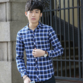 2016 Spring Casual Men Plaid Full Sleeve Business Cotton Oxford Mill Wool Bag Shirt Green Dark Blue 1601
