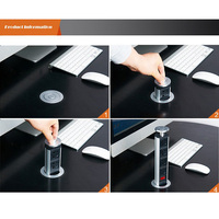 Pull Pop Up Electrical 3 Socket 2 USB Kitchen Retractable Office Metting Desk Table Socket JDH99