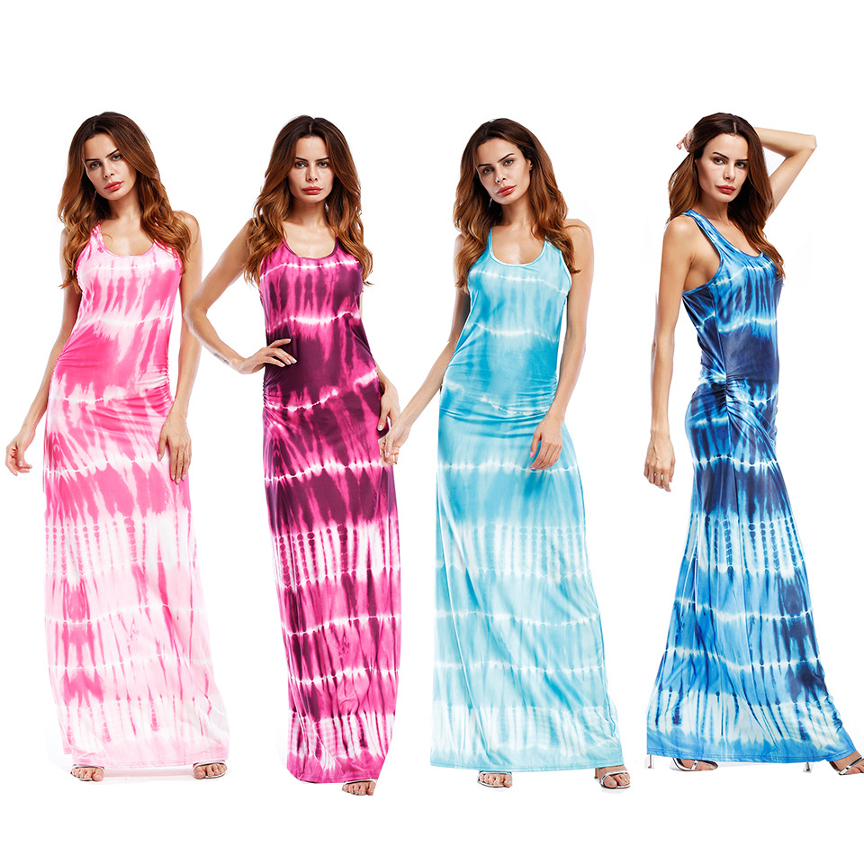 Mode Frauen Gradient Gedruckt Kleid 2018 Sommer Maxi Kleider Plus ...