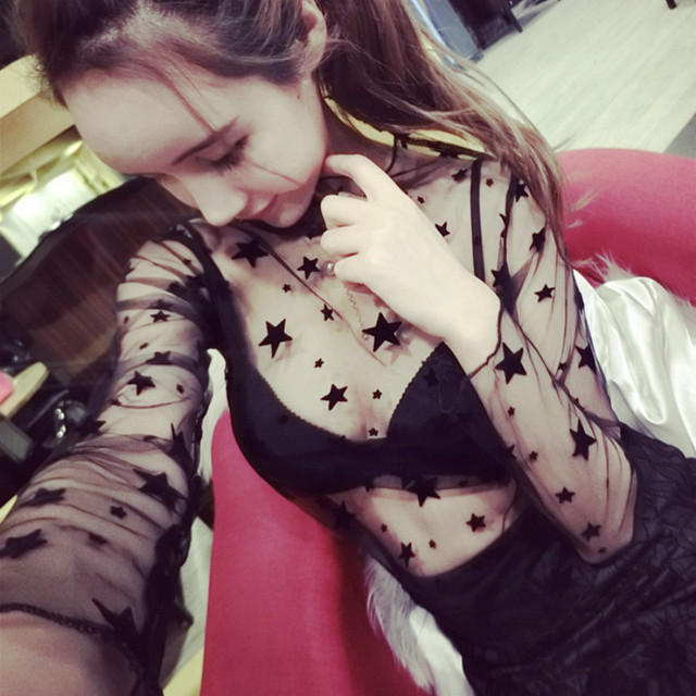 Ruoru Women Sexy Harajuku Mesh Net See Through T Shirt Hollow Transparent Undershirt Star Base Top Camisas Femininas Clubwear