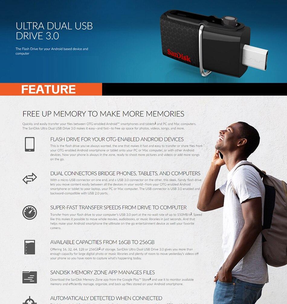 Sandisk Ultra Dual Otg Usb 30 Pen Drive 16gb 32gb 64gb 128gb Flasdisk Original Card 1 With Packaging