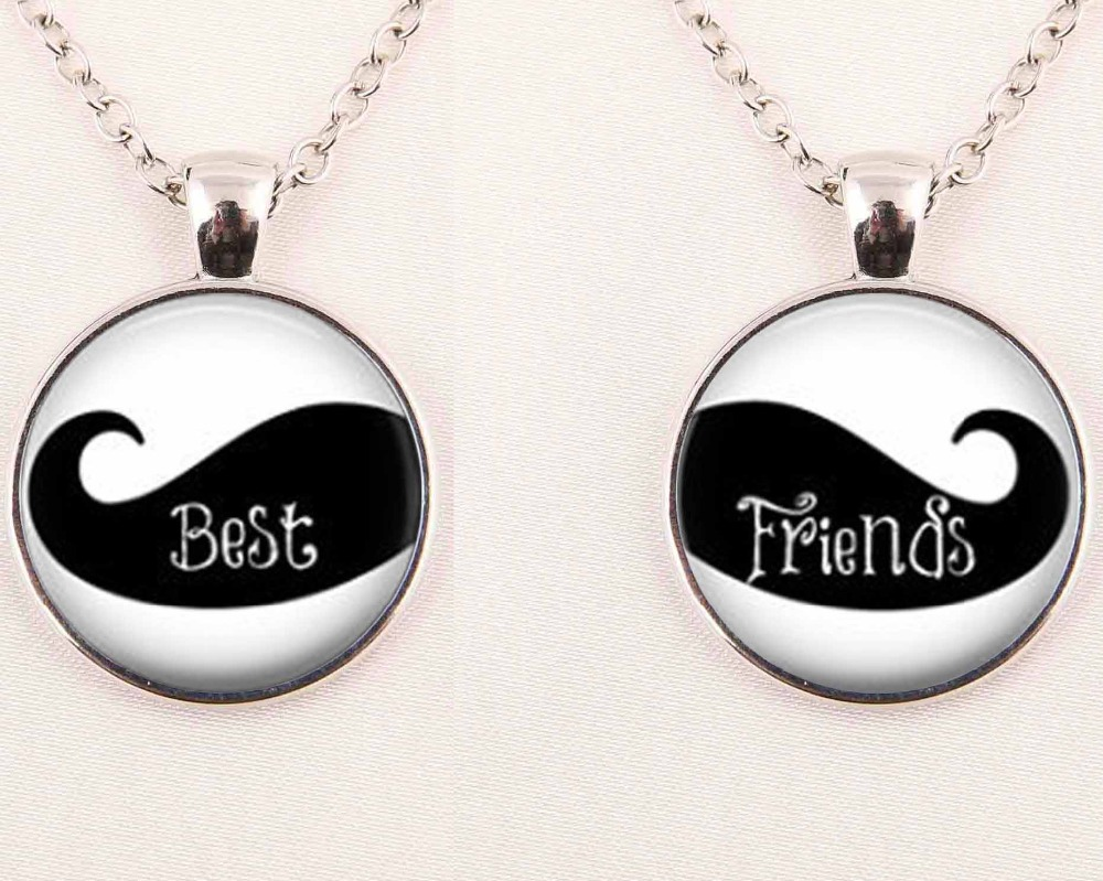 2pcs1Pair Best Friends Necklace Mustache Pendant Best Friends