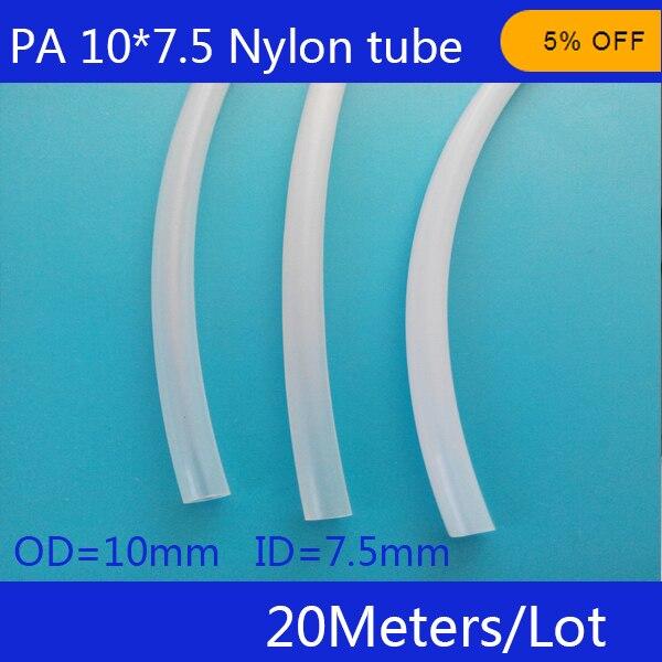 ФОТО Free shipping 20 metri/lotto Tubo di Nylon PA10X7.5mm OD 10mm ID 7.5mm Plastica Flessibile Tubo PolyamideTube