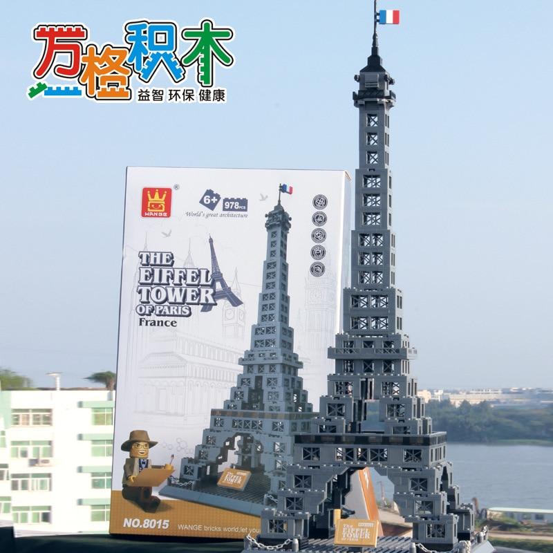 Famosa Arquitetura Da Série 978 pcs A Torre Eiffel 3D Tijolos de Blocos de Construção do Modelo Classic Toys Compatível com Legoed - 4