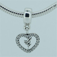 925 Sterling Silver Pendant Heart Charms Fits Pandora Charms Bracelet With Crystal Enamel Charm Women Finding