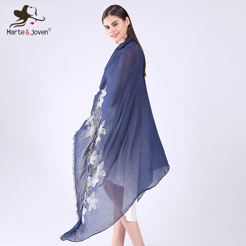 Marte&Joven Wholesale Fashion Pure Color Floral Embroidered Large Pashmina   Scarves   for Women Best Sunscreen Fringe   Scarf     Wrap