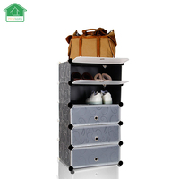 PRWMAN 2017 New Stackable multi Shoe Rack 5 cube Shoe Cabinets Toy Organizer Storage plastic Drawers Black with White Doors