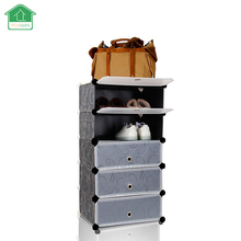 PRWMAN 2017 New Stackable multi Shoe Rack 5-cube Shoe Cabinets Toy Organizer Storage plastic Drawers Black with White Doors