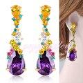 Accesorios de Joyería de Moda Cuelga Los Pendientes de Gota de Cristal violeta para Las Mujeres Chapado En Oro E628