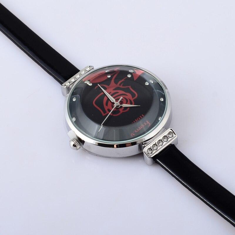 Romantic Rose Floral Women Dress Watches Students Luxury Crystal Korean Fashion Thin Leather Wristwatch Quartz Analog