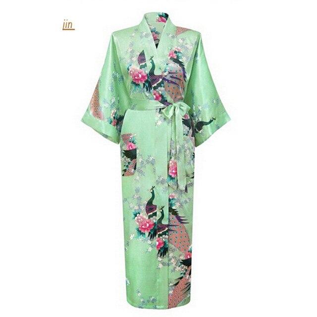 Светло-Зеленый Китайский Стиль Печати Атласные Халаты Женщины Долго Пижамы Случайные Ванна Платье Цветок Плюс Размер S, Чтобы XXXL S02K