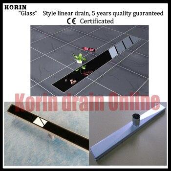 "800mm ""BLACK GLASS""  Stainless Steel 304 Linear Shower Drain, down side Drain, Floor Waste, Long floor drain, Shower channel"
