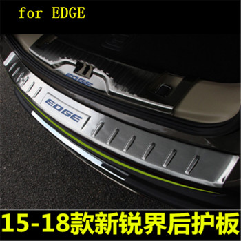Stainless Steel Paint Rear Bumper Protector Sill Trunk Tread Plate Trim for Ford Ford EDGE 2015-2018 Car styling high quality stainless steel rear windowsill panel rear bumper protector sill for hyundai tucson 2015 2016 2017 2018 car styling