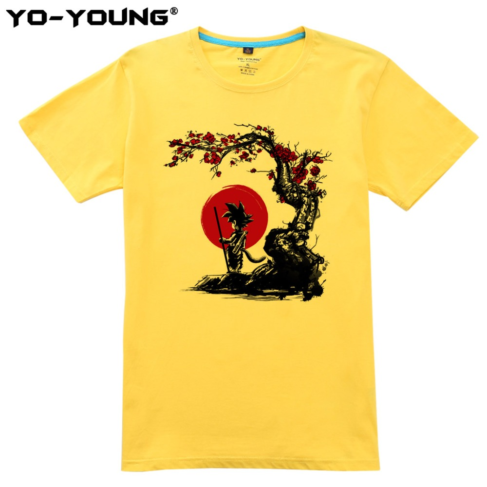 Men T-Shirts Anime Dragon Balls Red Son Goku Digital Printing 100% 180 gsm Combed Cotton Summer Top Tees Homme Customized
