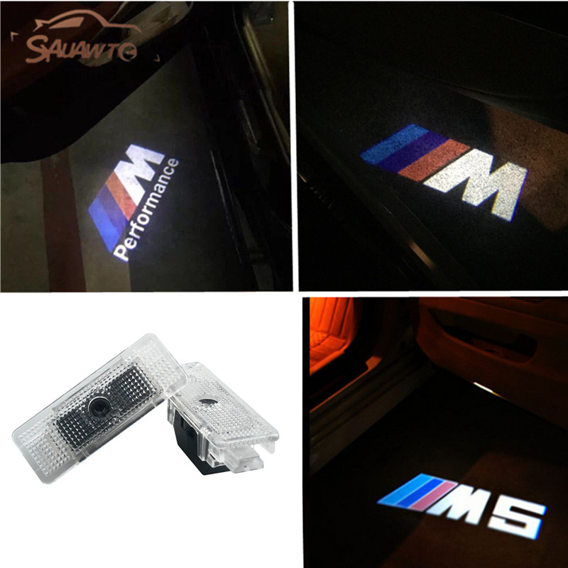 2PC Car LED Door Warning Light welcome Logo Projector For BMW X5 E53 E39 E52 Z8 528i M5 Logo auto car door logo projector welcome light laser ghost shadow lamp for bmw 5series e39 e53 x5 z8 e52 m performan car accessories