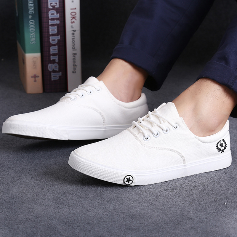 230c5b6471 New Men's Flat Canvas Shoes Breathable White Black Casual Shoes Men Fashion  Mens Shoes Slip on Loafers Espadrilles Size 39 44 -in Men's Casual Shoes  from ...