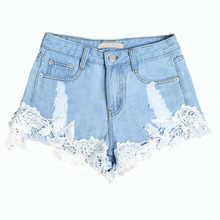 Fashion Women 2017 Hot Lace Hollow Out Horn Light Blue Denim Shorts Casual Sexy Jeans Plus Size