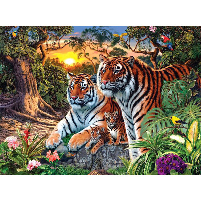 Europe Home Decoration Tiger Family DIY Canvas Oil Painting No Framed Pictures Painting By Numbers Wall Art 40*50cm WLDAFEN