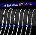 Beier stainless steel necklace hot sale 8 style trendy chain necklace boy/man high quality fashion Jewelry
