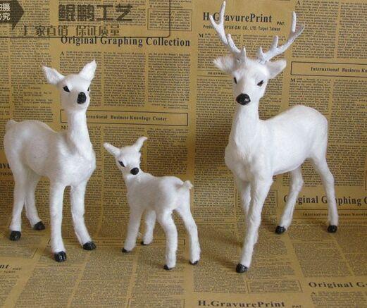 Ev ve Bahçe'ten Heykelcikler ve Minyatürler'de Simülasyon sika geyik modeli beyaz geyik oyuncak bir aile 3 üyeleri, polietilen reçine el sanatları, ev dekorasyon hediye a2514'da  Grup 2
