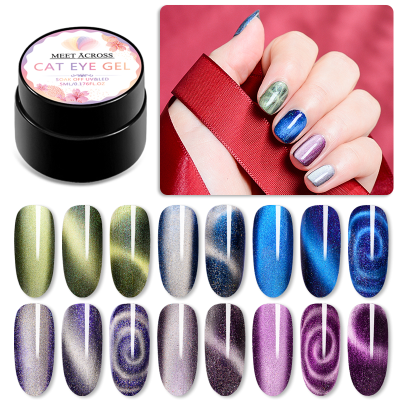 Magnetic 5D Cat Eye Nail Gel Holographic Magic Starry Sky Jade Effect UV Gel Varnish 5ml Soak Off Nail Art Lacquer