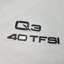 Nuevo 2 unids Genuino OE Q3 40 TFSI Logo Letras Emblema Trasera Insignia Brillo Mate Negro Para AUDI