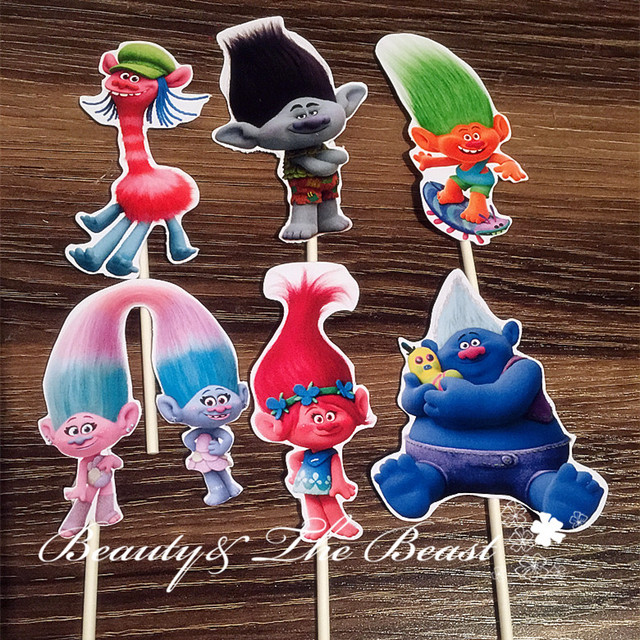Singing Trolls Clipart Cupcake Toppers Birthday Party Decorations Supplies Kids