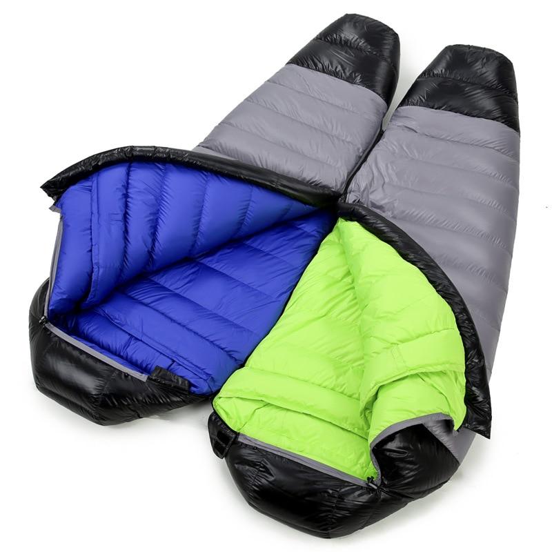 Camp Sleeping Gear Ultralight Down Sport Hiking Sleeping Bags Outdoor Winter Camping White Goose Down Adult Mummy Waterproof Sleeping Bags 3 Color