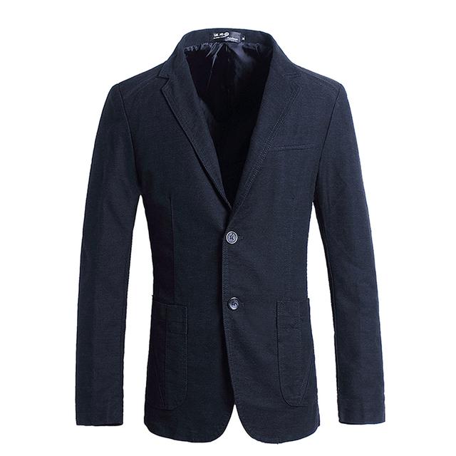 Nuevo estilo dos botones de algodón sólido traje Slim Fit chaquetas Mens Blazer Jacket Men algodón suave tapas Outwear chaquetas
