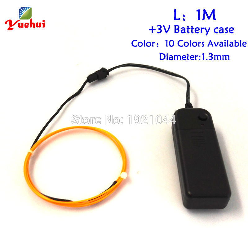 3V-1Meter 1.3mm 10 colors Select EL Wire Flexible Neon Light Glow Rope  Cable Strip LED Neon Lights Shoes Clothing waterproof 4a9ca6b08147