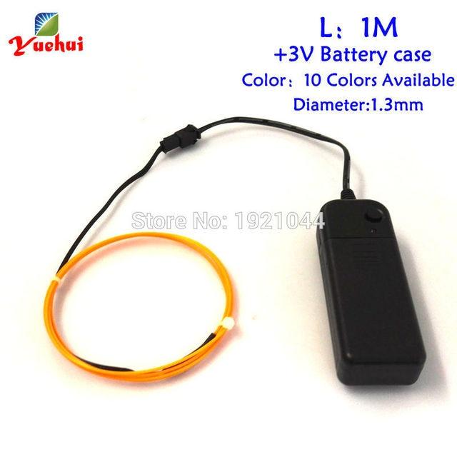 3V 1Meter 1.3mm 10 colors Select EL Wire Flexible Neon Light Glow ...